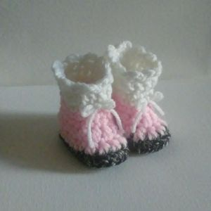 Very cute pink & white handmade boots with bow tie